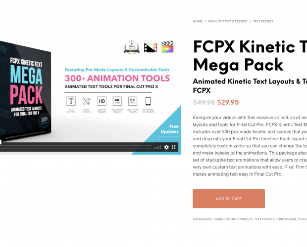 Cover image for the FCPX Kinetic Text Mega Pack from Pixel Film Studios